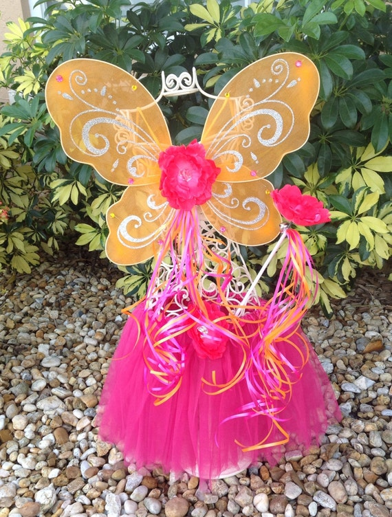 Items similar to Pink Fairy Costume, Orange Fairy Wings ...
