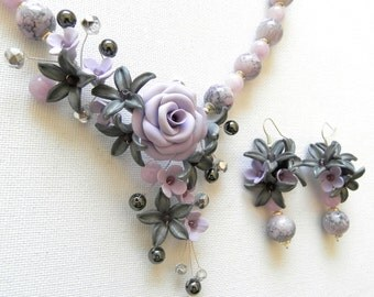 Statement Necklace, Flower Jewelry, Spring Jewelry, Gift For Her, Elegant Jewelry, Roses, Handmade Necklace, Flower Earrings, Grey Jewelry