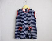 1960s Mod Girls Jumper Dress Tunic Shirt Blue White Stripes Red Bows / 6