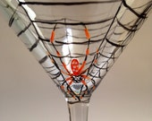 Spider in Web Martini Glass/Spider Martini Glass/Hand Painted Martini /Insect Martini Glass/Fall Martini Glass/Halloween Martini Glass/