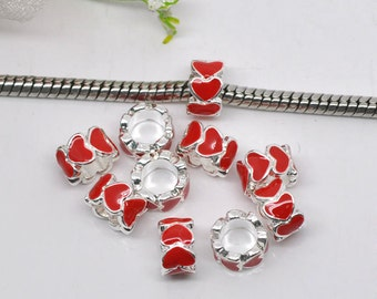 4 pieces Red Enamel Hearts European charms