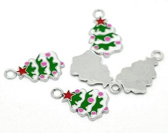 4 Pieces Silver Tone Enamel Christmas Tree Charms