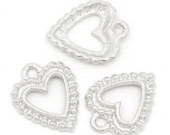 50 Pieces Pretty Silver Tone Hollow Heart Charms