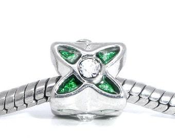 2 pieces Green Silver Tone Rhinestone Enamel Floral European Spacer Beads