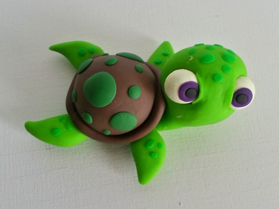 Sea Turtle Birthday Cake Topper Clay Turtle Cake Topper