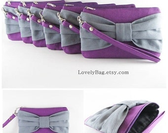 SUPER SALE - Set of 5 Eggplant Purple with Gray Bow Clutches - Bridal Clutch, Bridesmaid Wristlet, Wedding Gift,Zipper Pouch - Made To Order