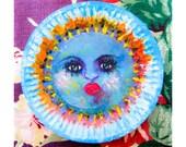 Montre Originale Cadeau : De soleil peinture originale sur une assiette en carton bon cadeau