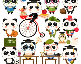 School panda Digital clip art for Personal and Commercial use - INSTANT DOWNLOAD