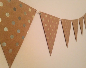Gold Polka Dotted Paper Pennant Banner