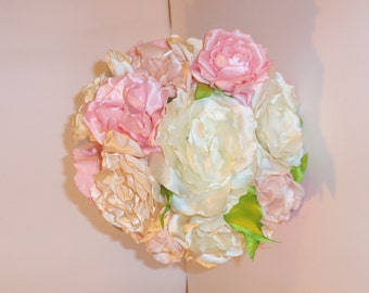 Silk,Satin Bridal Bouquet Rose Flowers Roses Shabby Chic Wedding