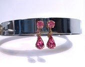 Pink Rhinestone Earrings, Vintage Gold Tone Clip On Earrings