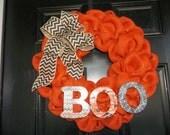 """18 """"  Orange Burlap Halloween Wreath Boo, door wreath, door, decoration"""