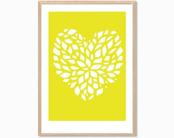 HEART | in Petals Poster : Modern Illustration Retro Art Wall Decor Print