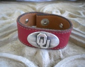 OU Red Leather Cuff Bracelet made from a repurposed belt