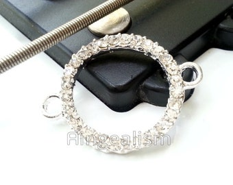 Karma Infinity Connector Circle Rhinestone Connector in Silver with Crystal Beads, RC126