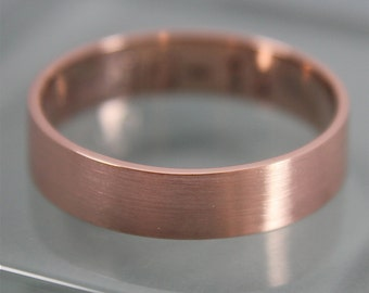 Rose Gold Ring Brushed 14k Solid Rose Gold 5mm x 1mm Flat Classic Men's  Band  Stacking Ring Eco Friendly Recycled Gold