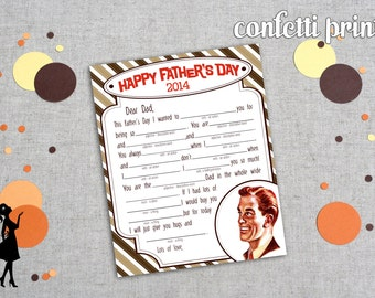 Father's Day Mad Libs - LETTER To My DAD Printable Instant Download