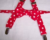 For The Little Guy Suspenders and bow tie set - Red and White Polka Dot Bow Tie - Boy's Bow Tie - pre-tied - Clip on - Ring Bearer