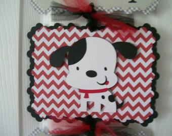 Baby Boy Dalmatian Banner -  Puppy Baby Boy Sign -  Boy Baby Shower Sign - 3 cards