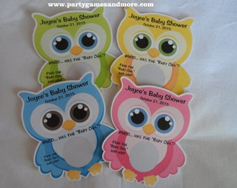"""Unique Personalized Baby Shower """"Whoo has the """"Baby Owl"""" 1 Scratch Off Lotto Game Card, shape of Owl Pink, Blue, Green or Yellow"""