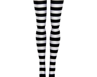 "Pullip DAL Doll Stockings - Black & White Stripe - Doll Clothes - 12"""