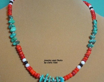 Beautiful Southwestern style Turquoise and Red Coral necklace - 19 inches - N116