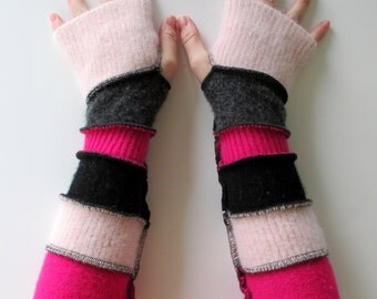Fingerless Arm Warmers - Armwarmers - Driving Gloves - Hippie Clothes - Pink Gloves - Hand Warmers - On Sale - Clearance Sale