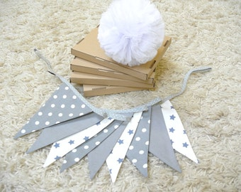 SALE: shabby fabric garland, banners, bunting in gray and white, guirlande de fanions