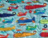 Airplanes Soar by Michael Miller (Aqua) - Crib, Toddler, Play Mat, Cot or Lap Quilt for Boys with Designer Fabric