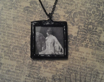 Two Sided Soldered Glass Pendant with Vintage Alfred Cheney Johnston Burlesque Pin Up Photo on Black Patina Necklace