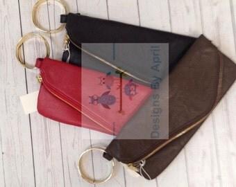 Monogrammed Cuff Clutch Purse/ envelope  clutch purse/ monogrammed purse