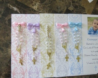 40 BAPTISM FAVORS rosary cards new size