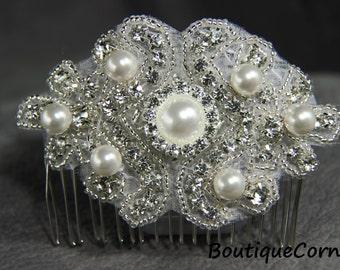 Bridal Hair Comb - Beaded Rhinestone Comb- Swarovski Pearls - Bridal Headpiece-Wedding Hair Piece