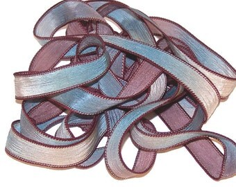 Sassy Silks Hand Painted/Dyed Ribbons  Burgandy Wine