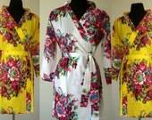 Bridesmaids Robe set of 6 -  Kimono Robe, bridesmaids Gift, YELLOW Cotton Floral Print Bath Robes, Getting ready robe