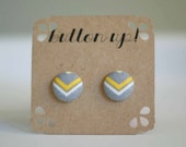 Yellow and Gray Chevron Covered Button Earrings