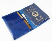 Passport Cover - Personalized Leather Passport Holder with Card Slots in Royal Blue - for Travel - Handmade & Hand Stitched - Free Monogram