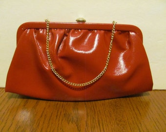 Vintage Red Patent Faux Leather Purse Clutch Gold Clasp