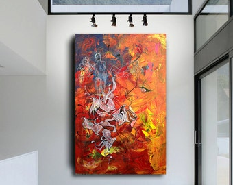 """Spirits - Original Modern Abstract Contemporary Art Painting - Size: 36"""" x 24"""""""" Acrylic on Canvas by A.J. Wesolek"""
