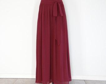 Burgundy Maxi Skirt. Burgundy Long Evening Skirt. Chiffon Bridesmaid Skirt. Burgundy Floor Length Skirt