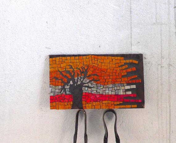 glass mosaic wall art, Miraggio orange, red, black art SIGNED original