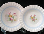 2 Cronin Blue Band Floral Fluted Vegetable Serving Bowls Pair of 9 Inch and 8 Inch Vintage Bowls