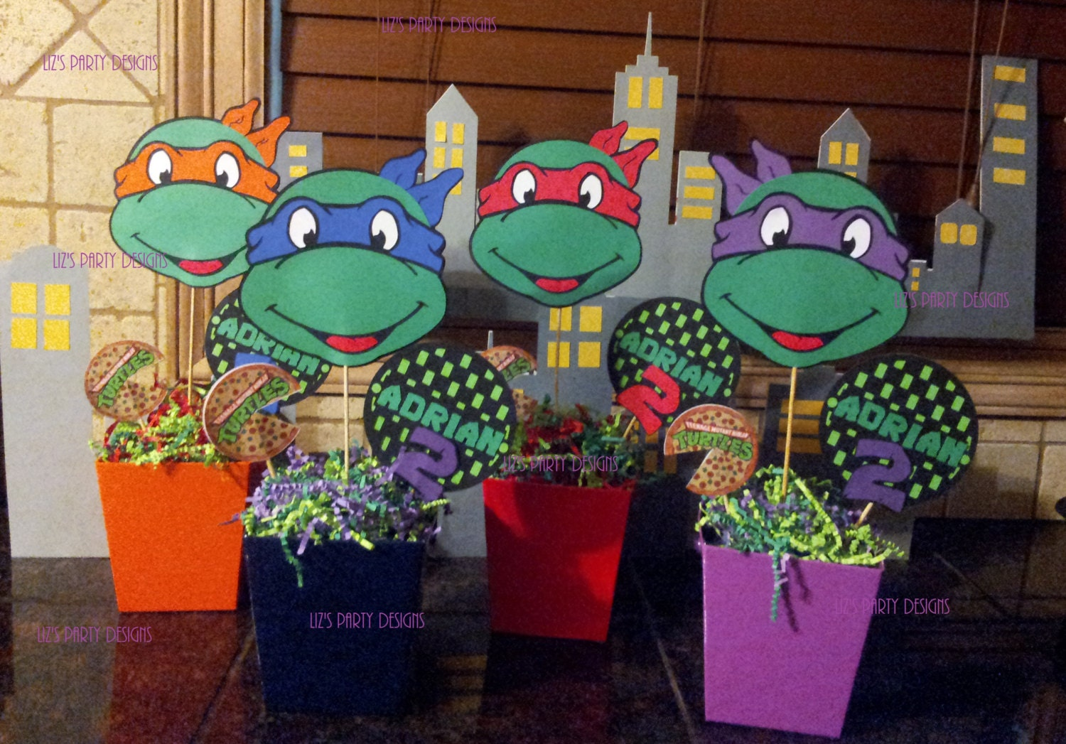 Ninja turtles centerpieces for Tmnt decorations