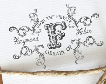 From the Library of - Monogram Library Stamp - Personalized Wooden Stamp - Library Stamp - FREE SHIPPING