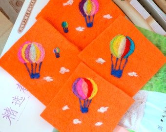 Gift Idea: A Set of 4 Needle Felted Coasters - (Hot Balloons)