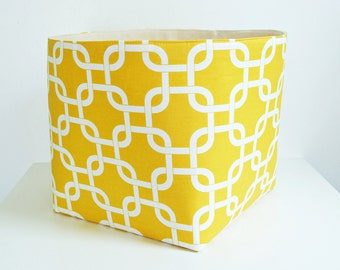 Extra Large Storage Basket Fabric Organizer in Yellow and White Chainlink with Canvas Liner, Home, Office, Nursery, Toy Storage