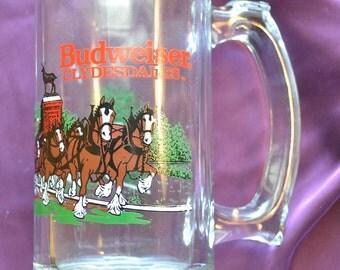 Budweiser Clydesdale Glass Mug 1991