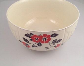 "9"" 3 1/2 qt radiance bowl hall china red poppy pattern 1935-1955"