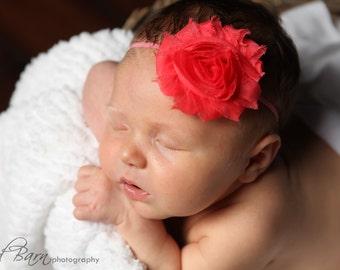 Shabby Chic Baby Headband, watermelon  Headband, Toddler Headband, Newborn headband, baby hair bow, Newborn photo prop, Baby hair bow