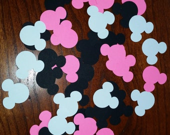 """100 Hot Pink, White, Black Mickey Mouse Minnie Disney Confetti Heads Size:  1"""" Lot Die Cut Scrapbooking"""